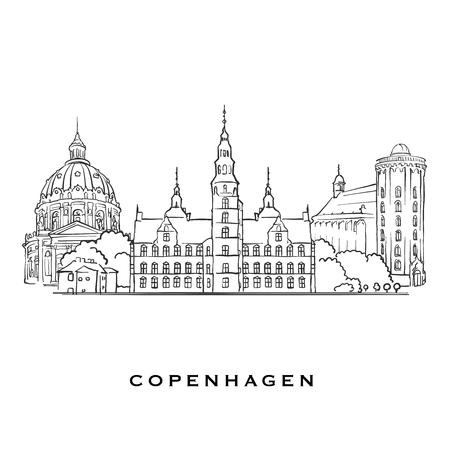 Kopenhagen Dänemark berühmte Architektur. Umrissene Vektorskizze getrennt auf weißem Hintergrund. Architekturzeichnungen aller europäischen Hauptstädte.