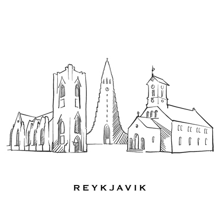 Reykjavik Iceland famous architecture. Outlined vector sketch separated on white background. Architecture drawings of all European capitals. 向量圖像