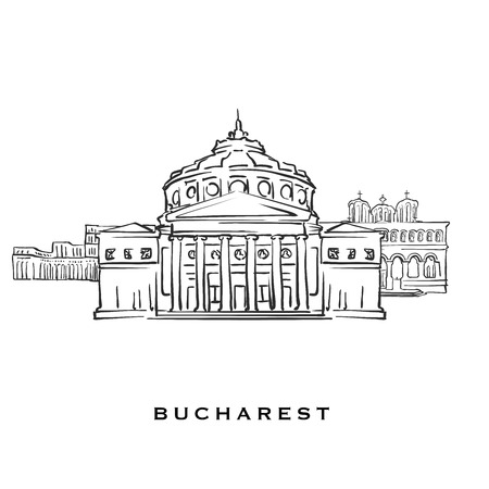Bucharest Romania famous architecture. Outlined vector sketch separated on white background. Architecture drawings of all European capitals.