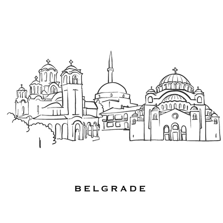Belgrade Serbia famous architecture. Outlined vector sketch separated on white background. Architecture drawings of all European capitals.