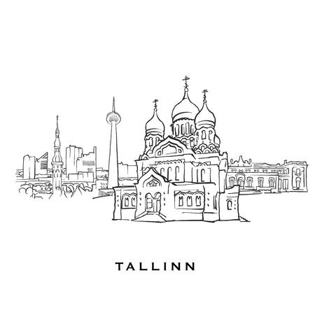 Tallinn Estland berühmte Architektur. Umrissene Vektorskizze getrennt auf weißem Hintergrund. Architekturzeichnungen aller europäischen Hauptstädte.