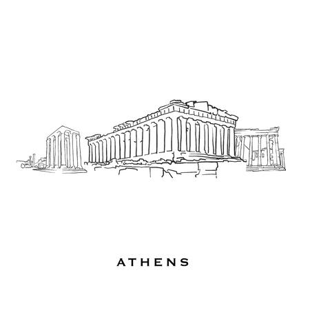 Athen Griechenland berühmte Architektur. Umrissene Vektorskizze getrennt auf weißem Hintergrund. Architekturzeichnungen aller europäischen Hauptstädte.