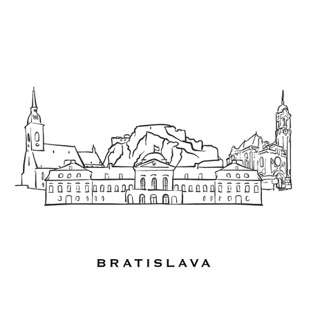 Bratislava Slovakia famous architecture. Outlined vector sketch separated on white background. Architecture drawings of all European capitals. Векторная Иллюстрация