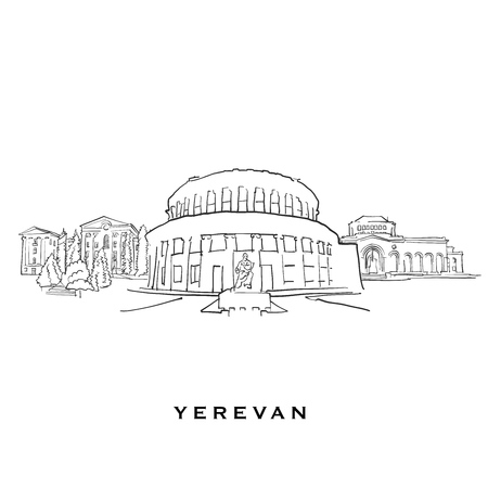 Yerevan Armenia famous architecture. Outlined vector sketch separated on white background. Architecture drawings of all European capitals.