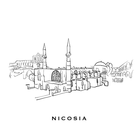 Nicosia Cyprus famous architecture. Outlined vector sketch separated on white background. Architecture drawings of all European capitals. 일러스트