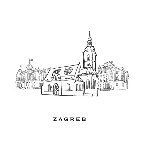 Zagreb Croatia famous architecture. Outlined vector sketch separated on white background. Architecture drawings of all European capitals.