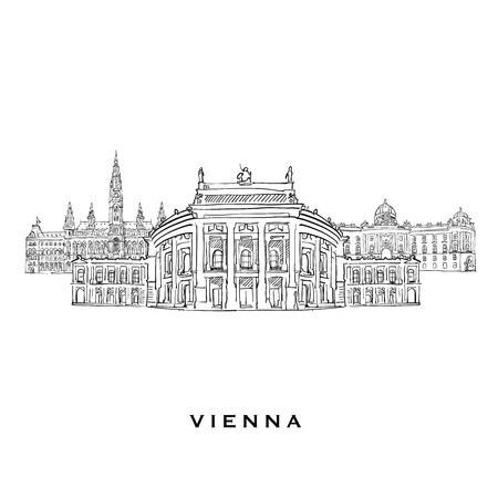 Vienna Austria famous architecture. Outlined vector sketch separated on white background. Architecture drawings of all European capitals.