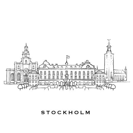 Stockholm Sweden famous architecture. Outlined vector sketch separated on white background. Architecture drawings of all European capitals. Illustration