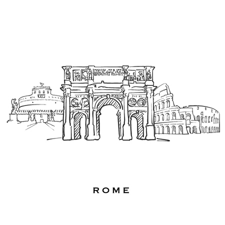 Rome Italy famous architecture. Outlined vector sketch separated on white background. Architecture drawings of all European capitals.
