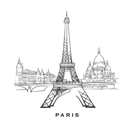 Paris France famous architecture. Outlined vector sketch separated on white background. Architecture drawings of all European capitals.