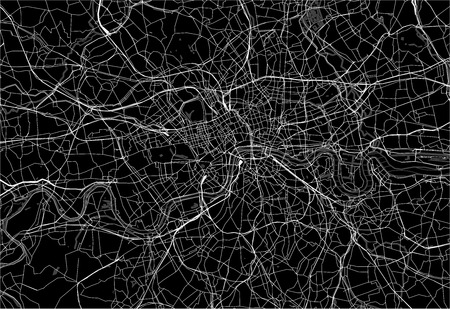 Dark area map of London, United Kingdom. This artmap of London contains geography lines for land mass, water, major and minor roads.