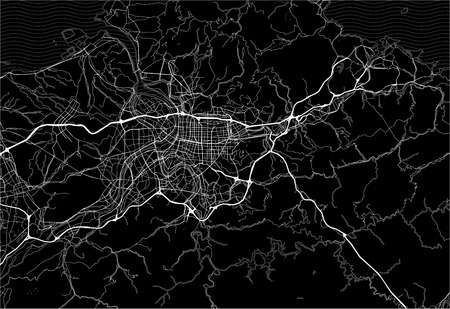 Dark area map of Taipei, Taiwan. This artmap of Taipei contains geography lines for land mass, water, major and minor roads.