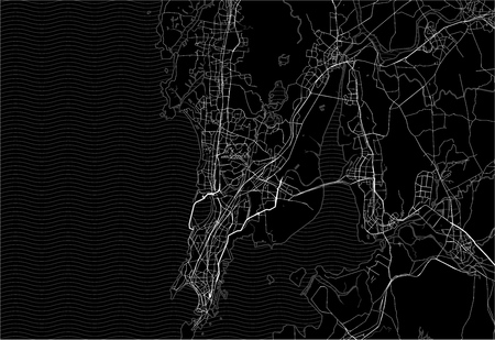 Dark area map of Mumbai, India. This artmap of Mumbai contains geography lines for land mass, water, major and minor roads.