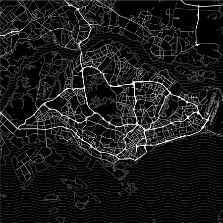 Dark area map of Singapore. This artmap of Singapore contains geography lines for land mass, water, major and minor roads.