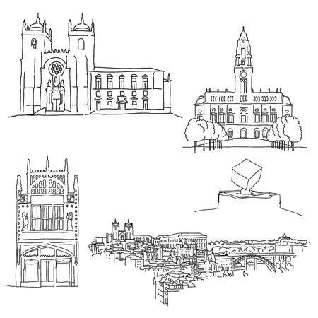 Porto Portgal historic architecture. Hand-drawn vector illustration. Famous travel destinations series. Vector Illustration