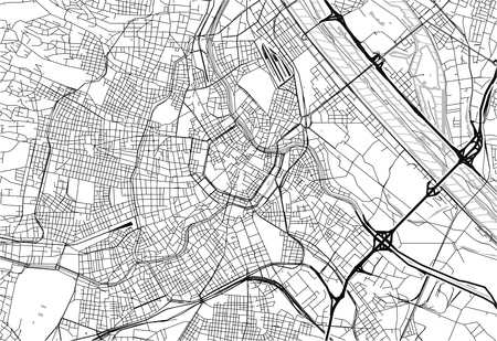 Area map of Vienna, Austria. This artmap of Vienna contains geography lines for land mass, water, major and minor roads.