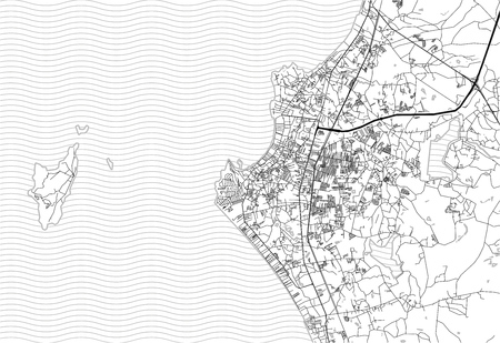 Area map of Pattaya, Thailand. This artmap of Pattaya contains geography lines for land mass, water, major and minor roads. 向量圖像