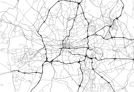 Area map of Johannesburg, South Africa. This artmap of Johannesburg contains geography lines for land mass, water, major and minor roads. Illustration