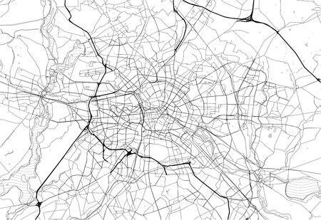Area map of Berlin, Germany. This artmap of Berlin contains geography lines for land mass, water, major and minor roads.