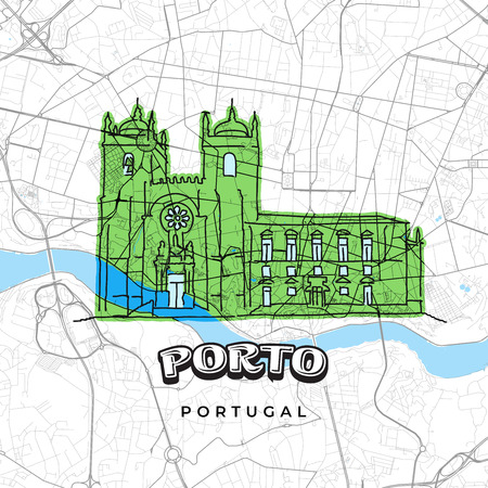 Porto Portugal drawing on map. Hand-drawn vector illustration. Famous travel destinations series.
