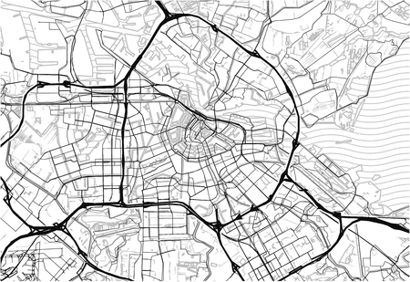 Area map of Amsterdam, Netherlands. This artmap of Amsterdam contains geography lines for land mass, water, major and minor roads. Illustration
