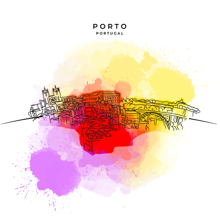 On the roofs of Porto. Hand-drawn vector illustration. Famous travel destinations series.