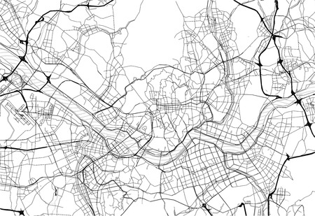 Area map of Seoul, South Korea. This artmap of Seoul contains geography lines for land mass, water, major and minor roads.