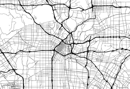 Lageplan von Los Angeles, USA. Diese Artmap von Los Angeles enthält geographische Linien für Landmasse, Wasser, Haupt- und Nebenstraßen.