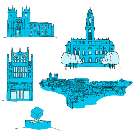 Porto Portgal famous architecture. Hand-drawn vector illustration. Famous travel destinations series.
