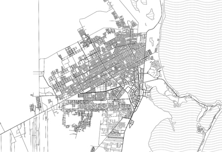 Area map of Cancun, Mexico. This artmap of Cancun contains geography lines for land mass, water, major and minor roads.