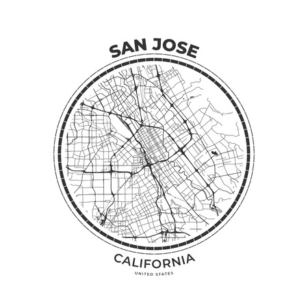 T-shirt map badge of San Jose, California. Tee shirt print typography label badge emblem. Vector illustration