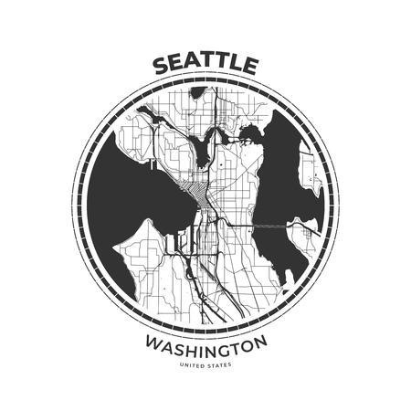 T-shirt map badge of Seattle, Washington. Tee shirt print typography label badge emblem. Vector illustration
