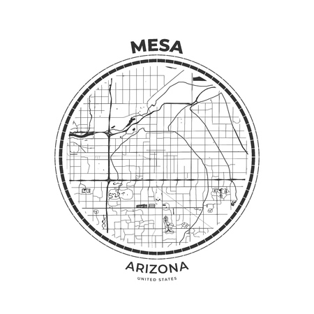 T-shirt map badge of Mesa, Arizona. Tee shirt print typography label badge emblem. Vector illustration 向量圖像