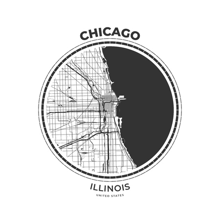 T-shirt map badge of Chicago, Illinois. Tee shirt print typography label badge emblem. Vector illustration Illustration