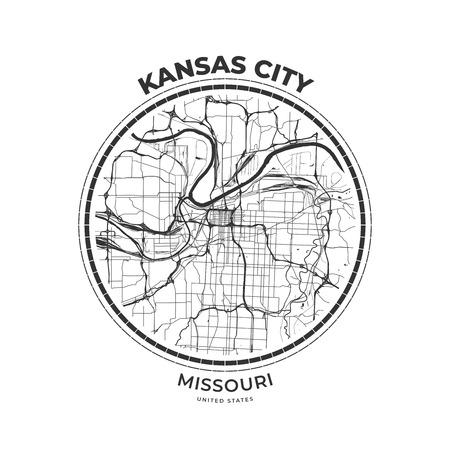 T-shirt map badge of Kansas City, Missouri. Tee shirt print typography label badge emblem. Vector illustration Illustration