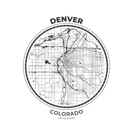 T-shirt map badge of Denver, Colorado. Tee shirt print typography label badge emblem. Vector illustration  イラスト・ベクター素材