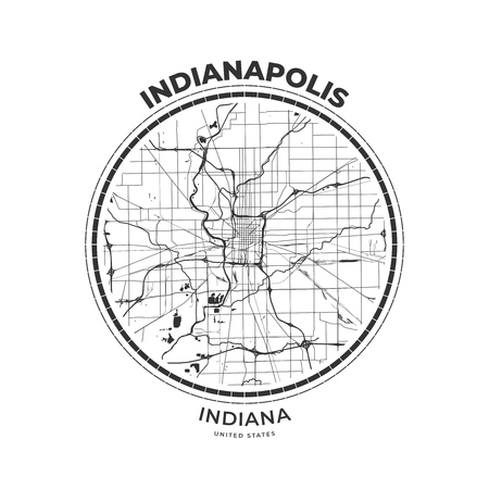 T-shirt map badge of Indianapolis, Indiana. Tee shirt print typography label badge emblem. Vector illustration