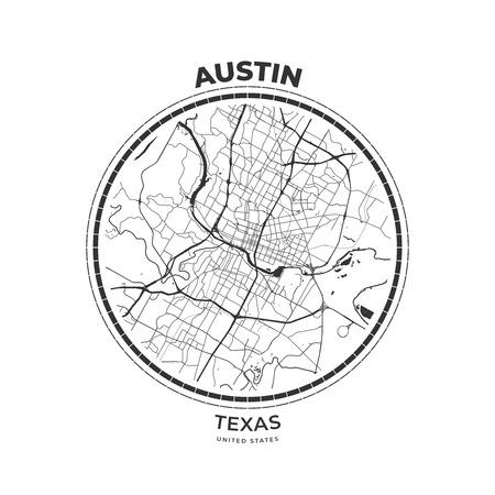 T-shirt map badge of Austin, Texas. Tee shirt print typography label badge emblem. Vector illustration Vector Illustration