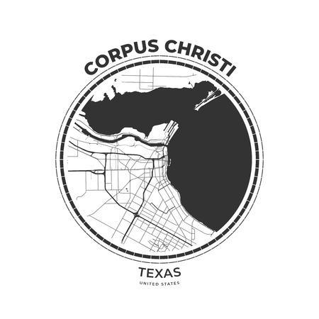 T-shirt map badge of Corpus Christi, Texas. Tee shirt print typography label badge emblem. Vector illustration
