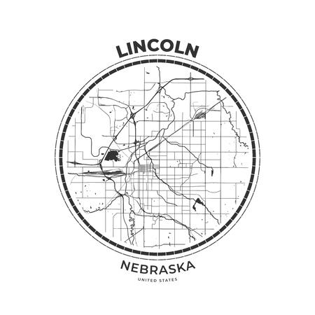 T-shirt map badge of Lincoln, Nebraska. Tee shirt print typography label badge emblem. Vector illustration
