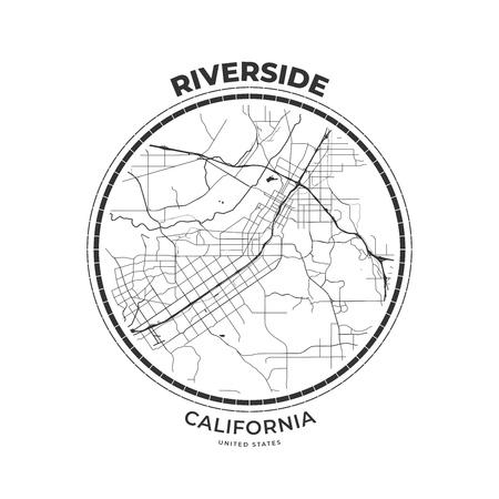 T-shirt map badge of Riverside, California. Tee shirt print typography label badge emblem. Vector illustration