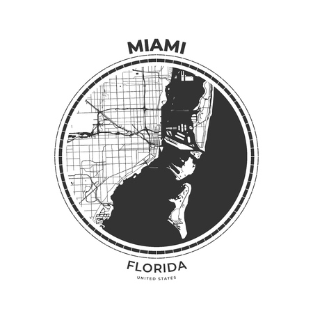 T-shirt map badge of Miami, Florida. Tee shirt print typography label badge emblem. Vector illustration