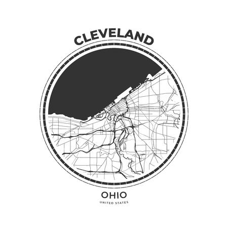 Badge de carte de T-shirt de Cleveland, Ohio. Emblème d'insigne d'étiquette de typographie d'impression de tee-shirt. Illustration vectorielle