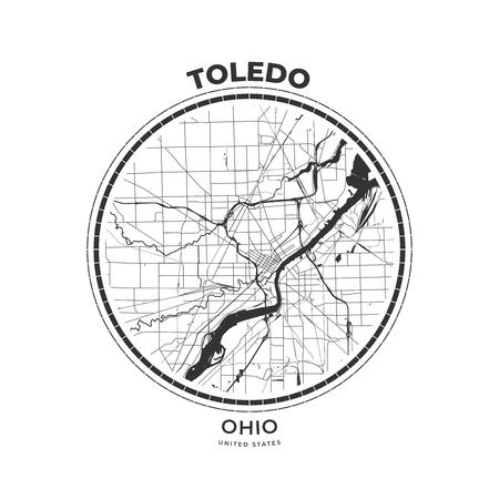 T-shirt map badge of Toledo, Ohio. Tee shirt print typography label badge emblem. Vector illustration Vektoros illusztráció