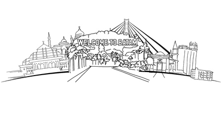 Batam Indonesia Panorama Banner. Hand-drawn vector illustration. Famous travel destinations series. Çizim