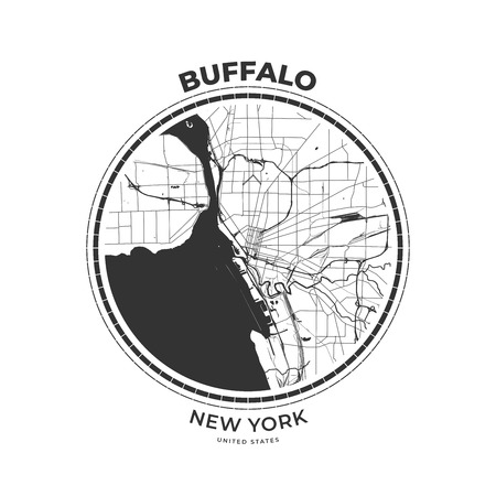T-shirt map badge of Buffalo, New York. Tee shirt print typography label badge emblem. Vector illustration