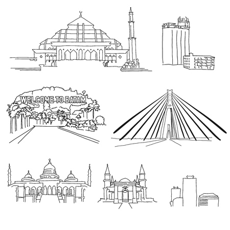 Batam famous architecture outlines. Hand-drawn vector illustration. Famous travel destinations series.