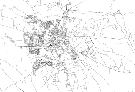Area map of Marrakech, Morocco. This artmap of Marrakech contains geography lines for land mass, water, major and minor roads.
