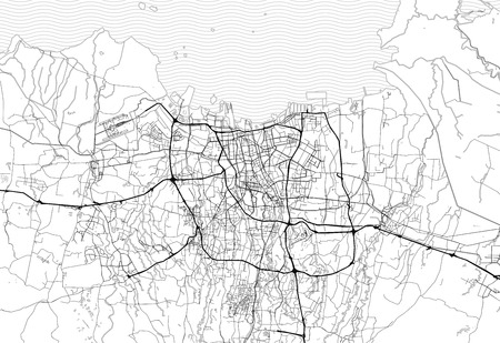 Area map of Jakarta, Indonesia. This artmap of Jakarta contains geography lines for land mass, water, major and minor roads.