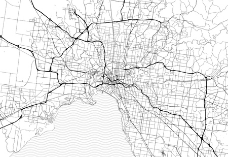 Area map of Melbourne, Australia. This artmap of Melbourne contains geography lines for land mass, water, major and minor roads.